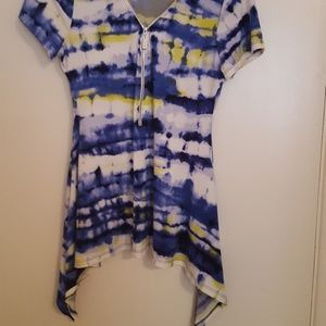 Chaus zip up stretchy top. Tye dyed look.